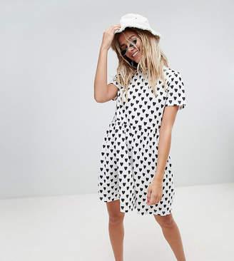 Daisy Street smock dress in heart spot print