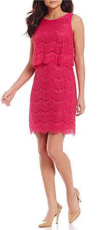 Anne KleinAnne Klein Round Neck Sleeveless Solid Lace Pop Over Sheath Dress