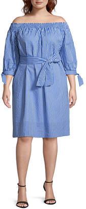 BELLE + SKY 3/4 Sleeve Peasant Dress-Plus