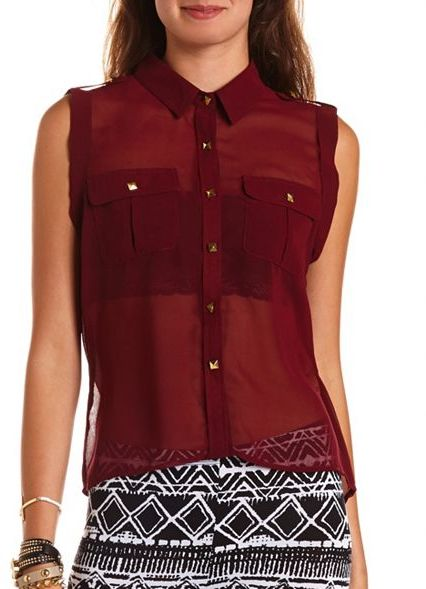 Charlotte Russe Pyramid Stud Button-Down Blouse