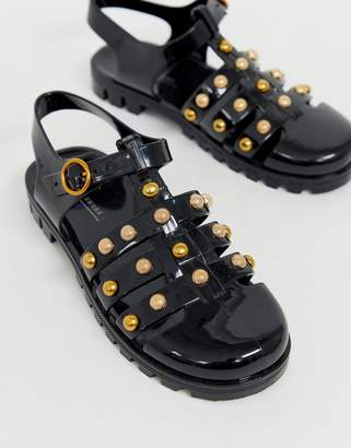 7ba17eef9810 Asos Design DESIGN Fevertee studded fisherman flat sandals