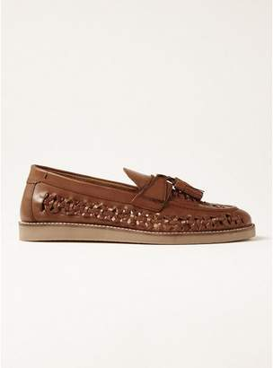 Topman Mens Brown Tan Leather Banner Weave Wedge Loafers