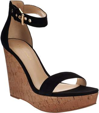 Marc Fisher Suede Ankle Strap Cork Wedges - Heart