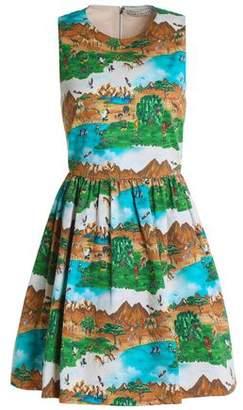 Alice + Olivia Gathered Printed Cotton-Blend Mini Dress