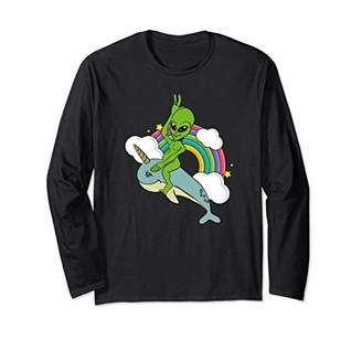Alien Riding The Narwhal UFO T-Shirt Mythical Long Sleeve