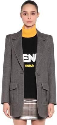 Fendi Logo Printed Oversized Jersey Jacket