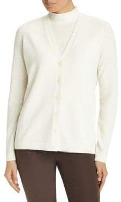Lafayette 148 New York Sequin Trim Cashmere Cardigan