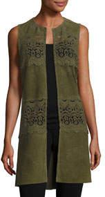 Long Suede & Lace Topper Vest Olive