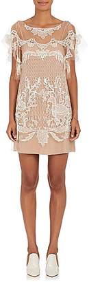 Alberta Ferretti Women's Beaded Tulle Shift Dress - Nudeflesh