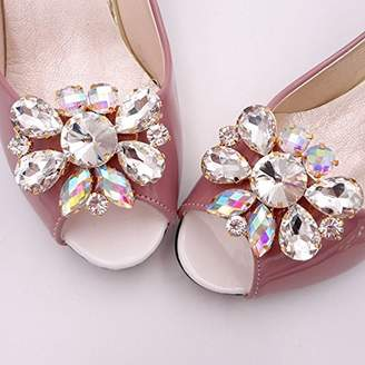 OULII Shoe Clips Rhinestones Crystal for Bridal Wedding Party DIY Shoe Decoration - 1 Pair