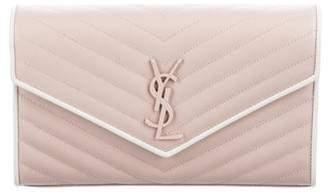 Saint Laurent Matelasse Monogram Envelope Chain Wallet