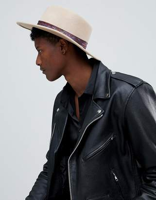 Asos DESIGN wide brim pork pie hat in camel with paisley band