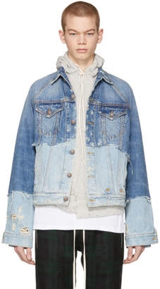 R 13 Blue Denim Double Shredded Raglan Trucker Jacket