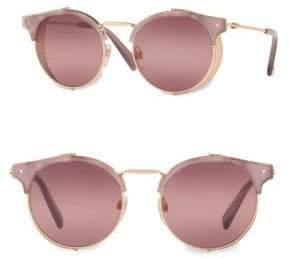 Valentino 51MM Mirrored Round Sunglasses
