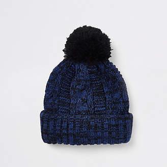 River Island Boys blue twist knit beanie hat