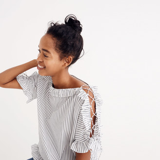 Ruffled Lace-Up Top in Stripe $80 thestylecure.com