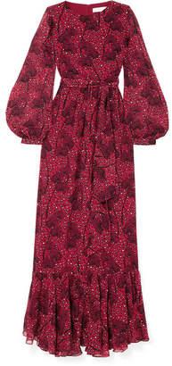 Borgo De Nor - Dianora Leopard-print Silk Crepe De Chine Maxi Dress - Red
