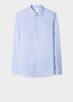 Paul Smith Men's Tailored-Fit Blue And White Gingham Cotton Shirt With Contrast Cuff Lining