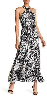 London Times Crossover Front Maxi Dress