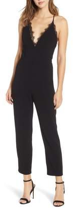 Leith Deep V-Neck Lace Trim Jumpsuit