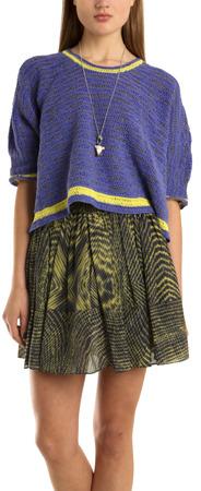 Cut25 Cut 25 Cropped Sweater in Iris