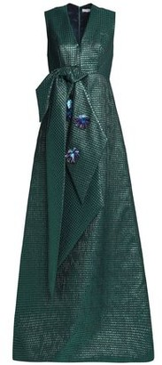 DELPOZO Embellished Knotted Metallic Jacquard Gown