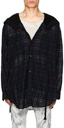 Faith Connexion Men's Oversized Plaid Wool-Blend Gauze Hooded Shirt