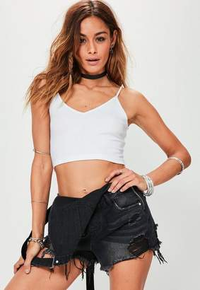Missguided White Ribbed Cami Crop Top