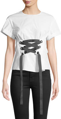 philosophy Corset-Tied Short-Sleeve Blouse