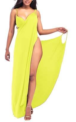 WO-STAR Women's Spaghetti Strap Backless Swimsuit Cover Up Beach Dress Swimwear Beachwear Gray M