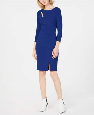 INC International Concepts I.n.c. Petite Ruched 3/4-Sleeve Bodycon Dress