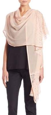 Harrison Morgan Lace-Trim Silk Shawl