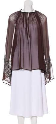 Thomas Wylde Sheer Embellished Blouse Brown Sheer Embellished Blouse