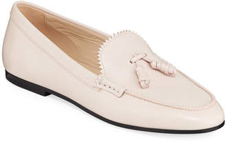Tod's Textured Tassel Flat Loafers