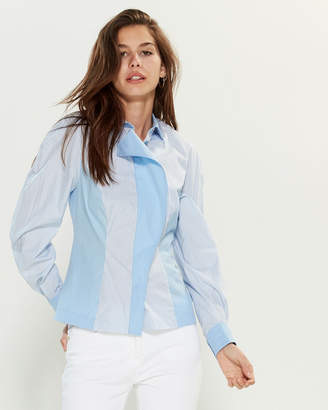 Versace White & Blue Vertical Stripe Long Sleeve Shirt
