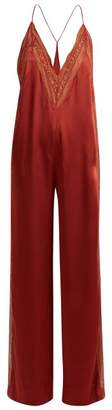 Jonathan Simkhai Lace Trimmed Acetate Jumpsuit - Womens - Dark Red