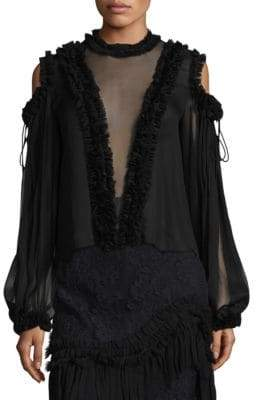 Alexis Belicia Sheer Lace-Trim Silk Blouse
