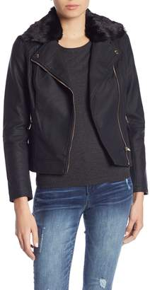 KUT from the Kloth Layla Faux Fur Collared Moto Jacket