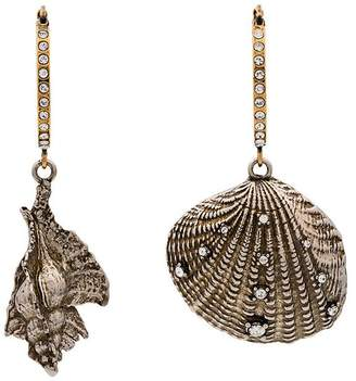 Alexander McQueen metallic Swarovski embellished shell hoop earrings