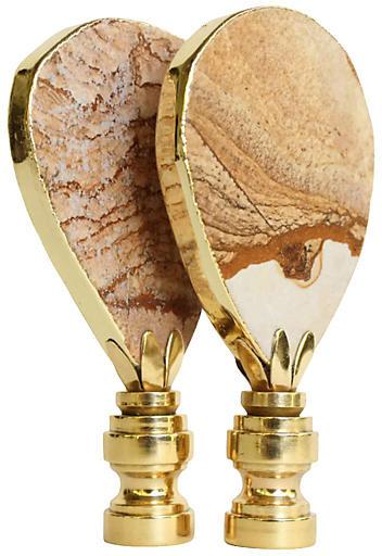 One Kings Lane Vintage Gilded Desert Jasper Lamp Finials - Set of 2 - Pythagoras Place