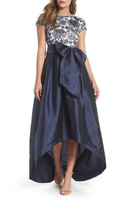 Adrianna Papell Sequin Bodice High/Low Ballgown