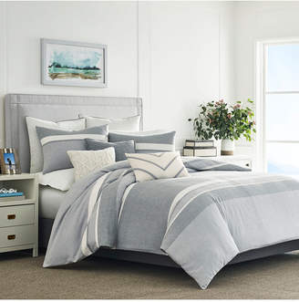 Nautica Clearview Gray Cotton 3-Pc. Stripe Full/Queen Duvet Cover Set Bedding