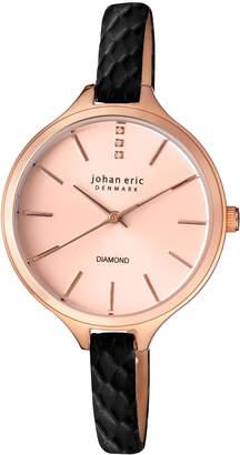 Johan Eric Herlev Slim Quartz Black Leather Strap Watch