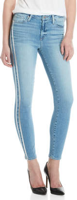 Paige Racing Stripe Hoxton Ankle Skinny Jeans
