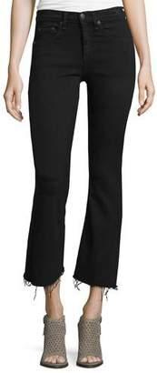 Rag & Bone Mid-Rise Cropped Flare-Leg Jeans, Black Coal