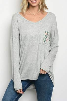 Sweet Claire Heather Grey Top