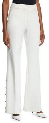 Trina Turk Fete Golden-Button Flared Pants