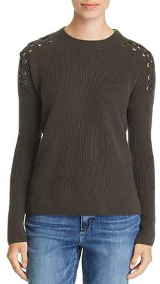 Bloomingdale's C by Lace-Up Rib-Knit Cashmere Sweater - 100% Exclusive