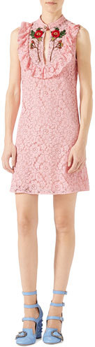 Gucci Gucci Cluny Lace Dress, Rose