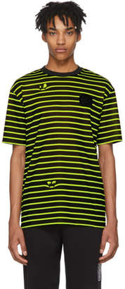 McQ Black and Yellow Monster Stripe Patch T-Shirt